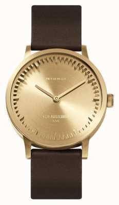 Leff Amsterdam |管表| t32 |黄铜|棕色皮革表带| LT74323