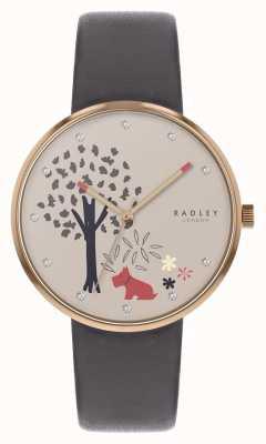 Radley |女式灰色皮革表带|树和狗图案拨号| RY2788