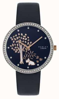 Radley  女式海军皮表带 水晶镶挡 树拨号 RY2783