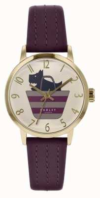 Radley  女式紫色皮革表带 打印狗在袋子拨号  RY2796