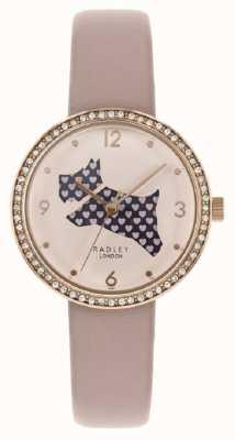 Radley |女式粉红色皮表带|切出狗拨号|水晶套装 RY2806
