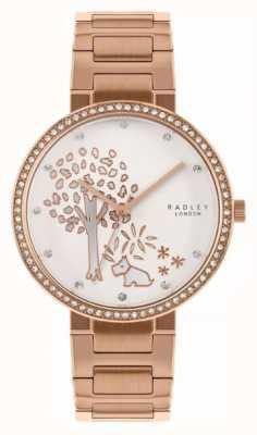 Radley |女士玫瑰金钢手链|白树图案表盘| RY4388