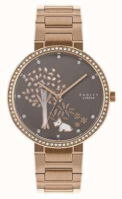Radley |女式玫瑰金钢手链|白色/灰色树拨号| RY4386