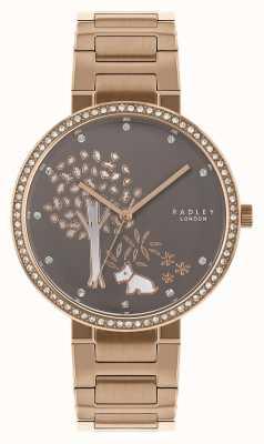 Radley |女士玫瑰金钢手链|白色/灰色树形表盘| RY4386