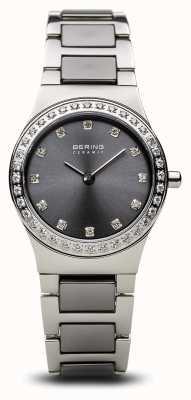 Bering |女式陶瓷抛光银|水晶套装|灰色表盘 32426-703
