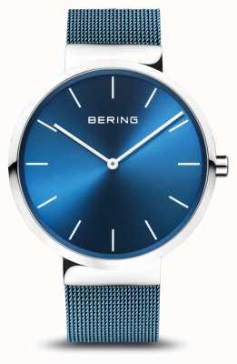 Bering 男士经典|蓝色pvd电镀钢网手链 16540-308