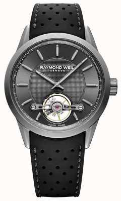 Raymond Weil 男士|自由职业者自动灰色表盘|黑色橡胶表带| 2780-TIR-60001