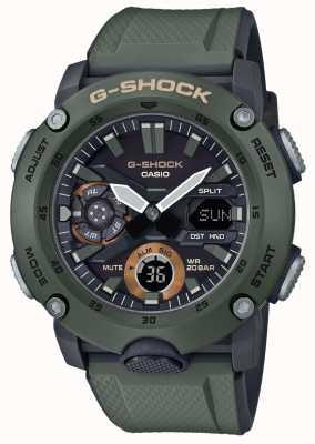 Casio | g-shock碳芯护罩|绿色橡胶表带| GA-2000-3AER