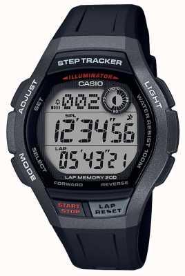 Casio |运动手表,脚步追踪器|黑色橡胶表带| WS-2000H-1AVEF