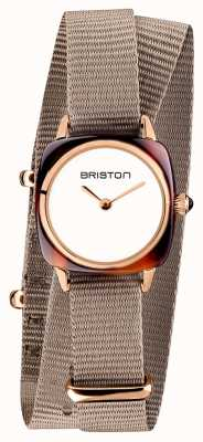 Briston | clubmaster女士|灰褐色北约单肩带|玫瑰金pvd 19924.PRA.T.2.NT