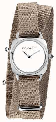 Briston | clubmaster女士|灰褐色北约单肩带|白色表盘| 19924.S.M.2.NT