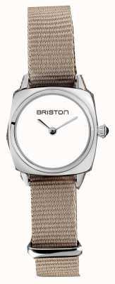 Briston   clubmaster女士 灰褐色北约单肩带 白色表盘  19924.S.M.2.NT - SINGLESTRAP