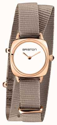 Briston | clubmaster女士|单灰褐色北约|玫瑰金pvd表壳| 19924.SPRG.M.2.NT