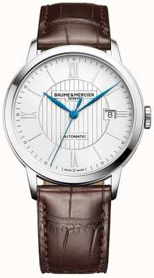 Baume & Mercier |男士classima |自动|棕色皮革|银色表盘| BM0A10214