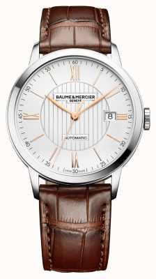 Baume & Mercier |男士classima |自动|棕色皮革|银色表盘| BM0A10263