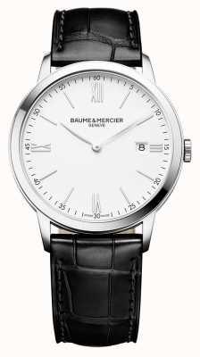 Baume & Mercier |男士classima |黑色皮革表带|白色表盘| BM0A10323