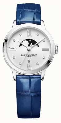 Baume & Mercier |女子经典|蓝色皮革|银色月相表盘| BM0A10329