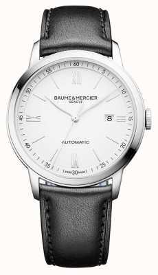 Baume & Mercier |男士classima |自动|黑色皮革|白色表盘| BM0A10332