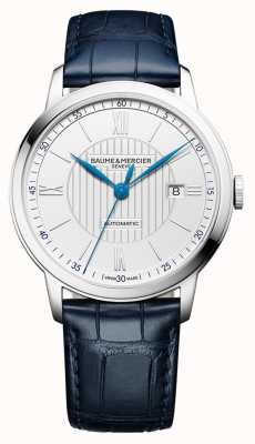 Baume & Mercier |男士classima |自动|蓝色皮革|银色表盘| BM0A10333