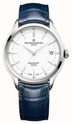 Baume & Mercier |男士克利夫顿| baumatic |蓝色皮革|白色表盘| BM0A10398