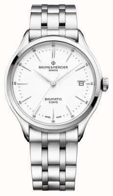 Baume & Mercier |男士克利夫顿| baumatic |不锈钢|白色表盘| BM0A10400