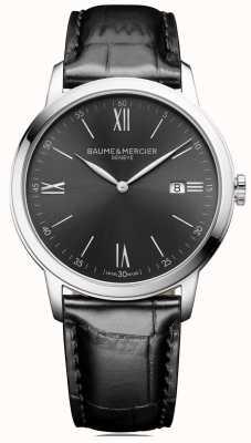Baume & Mercier |男士classima |黑色皮革|板岩灰色表盘| BM0A10416