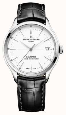 Baume & Mercier |男士克利夫顿|宝贝黑色皮革|白色表盘| M0A10436