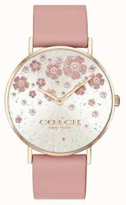 Coach |佩里|腮红皮革表带|花卉闪光表盘| 14503325
