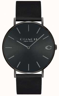Coach |男士|查尔斯|黑色皮革表带|黑色表盘| 14602434