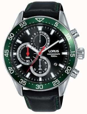 Lorus |男士计时码表|绿色表圈|黑色皮革表带| RM347FX9
