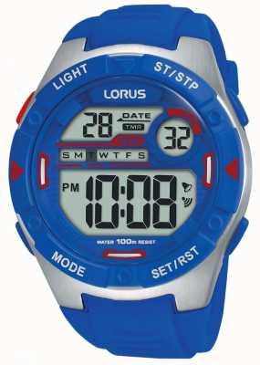 Lorus |男子运动数码|蓝色橡胶表带| R2301NX9