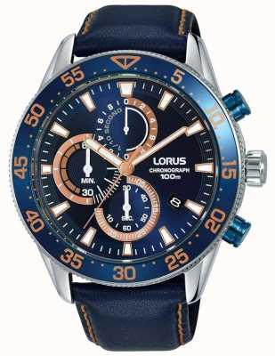 Lorus |男士计时码表|蓝色表圈|蓝色皮革|蓝色表盘| RM341FX9