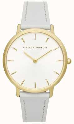 Rebecca Minkoff 女装专业|灰色皮革表带|银色/白色表盘| 2200289