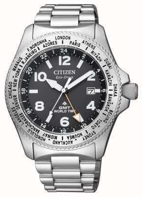 Citizen |男士生态驱动器promaster gmt |黑色表盘|不锈钢 BJ7100-82E