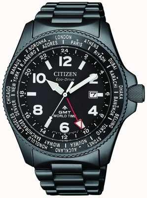 Citizen |男士生态驱动器promaster gmt |黑色表盘|灰色的DVD BJ7107-83E