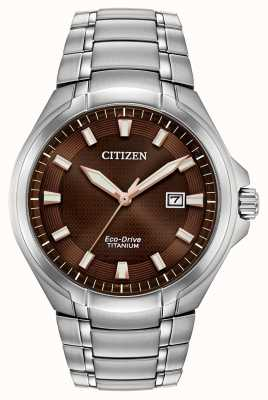 Citizen |男士环保驱动器|钛手链|棕色表盘| BM7431-51X