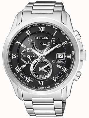 Citizen |男士生态驱动世界时间|不锈钢| blackdial AT9081-89E