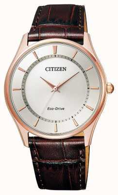 Citizen |男士生态驱动器|棕色皮革表带|银色表盘| BJ6483-01A