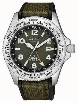 Citizen 男士生态驱动器Promaster GMT绿色帆布表带绿色表盘手表 BJ7100-23X