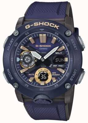 Casio | g-shock碳芯世界时间|蓝色橡胶表带| GA-2000-2AER