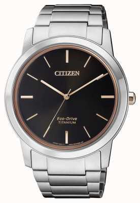 Citizen |男士环保型钛金属wr50 |黑色表盘|银色手链 AW2024-81E