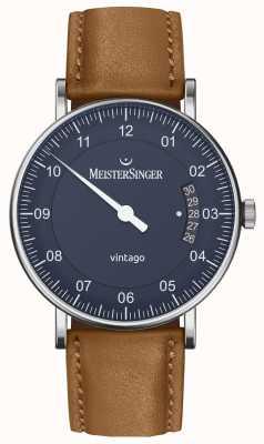 MeisterSinger |男士vintago |自动|棕色皮革|蓝色表盘 VT908