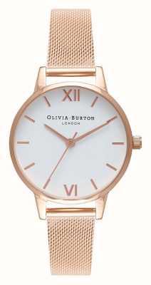 Olivia Burton |女士|玫瑰金网手链|白色表盘| OB16MDW01