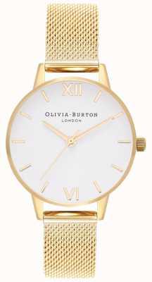 Olivia Burton |女士|金网手链|白色表盘| OB16MDW35
