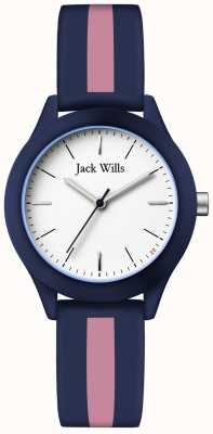 Jack Wills |妇女联盟|白色表盘|海军蓝/粉红色硅胶表带| JW008BLPST