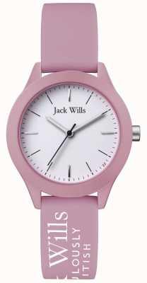 Jack Wills |妇女联盟|白色表盘|粉色硅胶表带| JW008PKWH