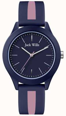 Jack Wills |男士工会|海军表盘|粉色/海军蓝硅胶表带| JW009BLPST