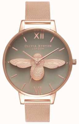 Olivia Burton |女士| 3d蜜蜂|玫瑰金网手链|灰色表盘 OB16AM117