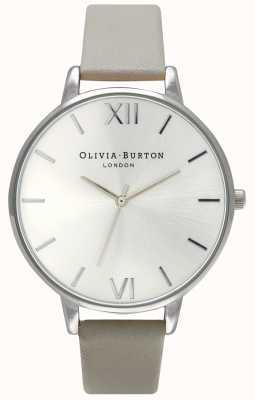 Olivia Burton |女士|银色表盘|灰色皮革表带| OB15BD57