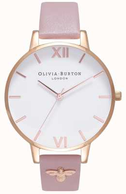 Olivia Burton |女士| 3d蜜蜂|缀饰皮革表带| OB16ES15